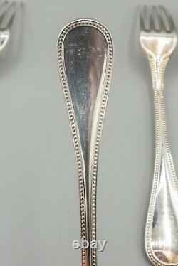 Christofle France Perles Silverplate Dinner Forks 8 1/8 Set of 6