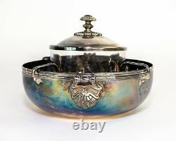 Christofle France Silverplate & Crystal Caviar Server 4 Pieces Set