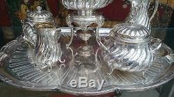 Christofle French 6 Pc. Tray, Tea & Coffee Set With Samovar