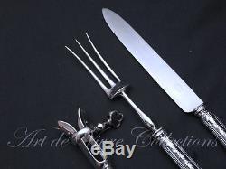 Christofle Louis XVI, Filets & Rubans 3pcs Carving Set, Service à Découper