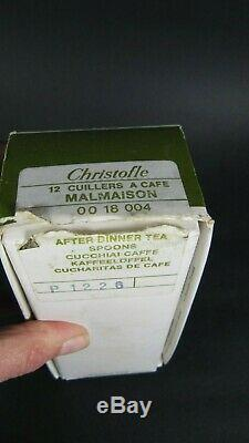 Christofle MALMAISON Set 12 TEA or COFFEE SPOONS Silver Plated UNUSED with BOX