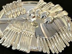 Christofle Malmaison Silverplated Flatware Set 49 Pcs For 12 People Excellent