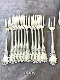 Christofle Marly Silverplated Dessert/ Pastry Forks Set 12 Pc Excellent