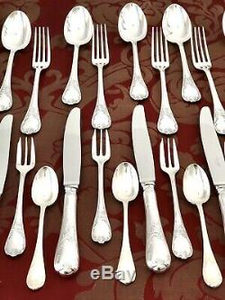 Christofle Marly Silverplated Flatware Dinner Set 30 Pcs For 6 People Orig Box