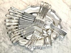 Christofle Marly Silverplated Flatware Set 36 Pc/ 6 People Excellent
