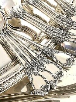 Christofle Marly Silverplated Flatware Set 49 Pc/12 People In Box Excellent