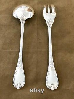 Christofle Marly Silverplated Large Service Set 2 Pcs Fork & Spoon