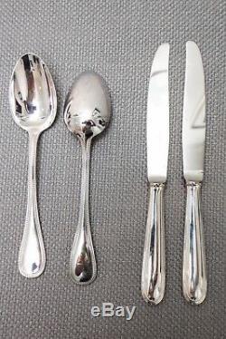 Christofle Perles Silver Plate Flatware Set Serving Service for 12, 146 Piece