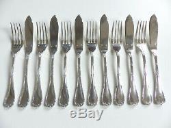 Christofle Rubans Silver Plate Fish Set 12 Pieces