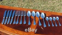 Christofle Rubans Silver plated Flatware 16 Pcs Set in Four Settings
