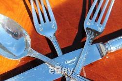 Christofle Rubans Silver plated Flatware 24 Pcs Set in SIX Settings