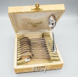 Christofle Rubans Silverplate Demitasse Spoons Set of 11 in Box