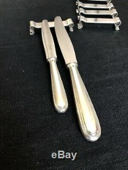Christofle Silver Plated Art Deco Modernist Set Of 6 Knife Rest By Luc Lanel