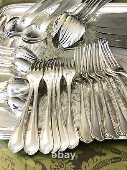 Christofle Spatours Silverplated Flatware Set 49 Pcs 12 People
