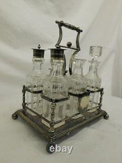 Cooper Bros Cut Crystal Cruet Set Silver Basket Salt Pepper Oil Vinegar Footed