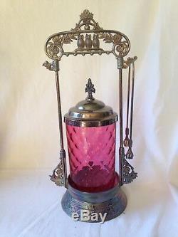 DERBY SILVER Co. Victorian 3-Owl PICKLE CASTOR SET withCranberry Glass Jar 12 h