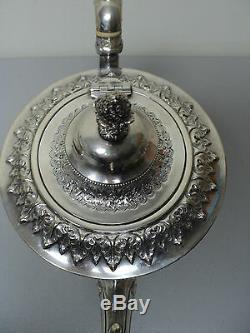 ELABORATE ANTIQUE SILVER PLATE REPOUSSE 3-PIECE TEA SET, c. 1900