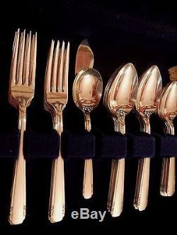 Elaine Oneida Community Tudor Silverplate Flatware Set for 12 + soups 2 serv pcs