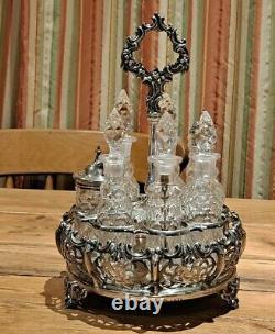 Elkington & Co 1853 Victorian Silver Cruet Crystal Cut Glass Set