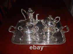 FINE ART NOUVEAU French Silverplate CHRISTOFLE Tea Set 5 pcs