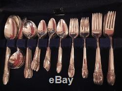 FIRST LOVE 1847 Rogers Bros SilverPlate flatware set for 12+gumbo xtr tspn 5serv
