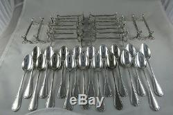 FRENCH CHRISTOFLE SILVERPLATE FLATWARE SET FOR 18PER 191 PIECES Rubans PATTERN