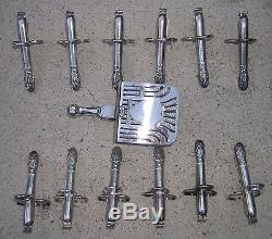 FRENCH CHRISTOFLE SILVERPLATE FLATWARE SET OF 12 ASPARAGUS TONGS withSERVING