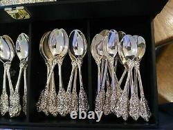 F. B. Rogers Silverware Grand Antique Rose 93 pc Set SILVER PLATED withchest
