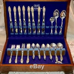 First Love Pattern Int'l 1847 Rogers Silver Flatware Set in Vintage Wood Chest