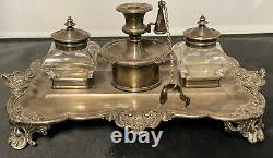 GORGEOUS VICTORIAN SILVER PLATE INKWELL SET With Candle Snuffer 5X12X9