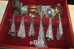Godinger Olde Bouquet Service FOR 8 Silver Plate Flatware +SERVING LOT of 66