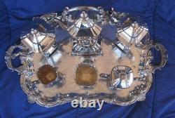 Goldfeder Silverplate Art Deco Tea Set 1932-1957 8 pcs Large tray 24 x 20