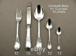 Gorgeous Christofle Marly Silverplated Flatware 12 Place Setting 60 Pieces