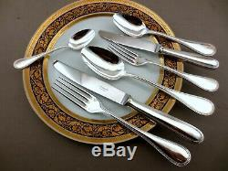 Gorgeous Christofle Perles Silverplated Flatware 6 Place Setting 42 Pieces