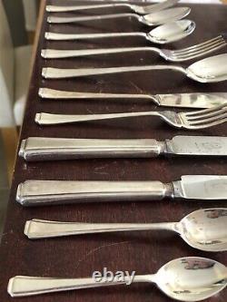 HARRODS 124 Piece GRECIAN Design Canteen Of Cutlery BUTLER Silver Service 12 Set