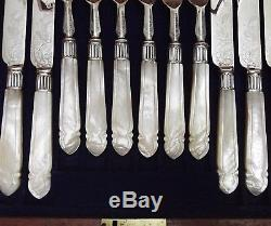 HB&H 12 Pc CARVED Mother of Pearl Handle Chased Grape Dessert Set & Wood Chest
