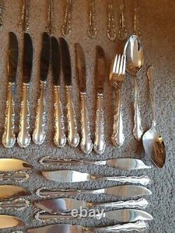 Huge Vintage Oneida Mansion Flirtation Silversmith Cutlery set For 12 138