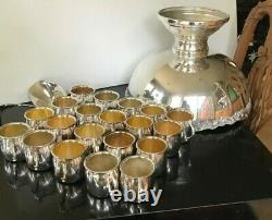 International Silver Vintage Punch Bowl Set Shell Matching 20 Cups & Dbl Ladle