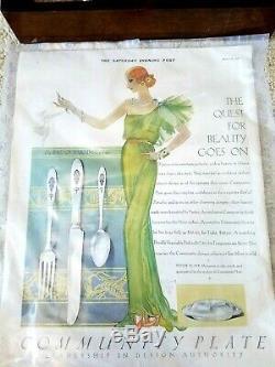 Luxe! Community BIRD OF PARADISE 1923 Silverplate Peacock 36pc Wood Silk Velvet