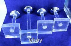 MID Century 1950's Dorothy Thorpe Set 4 Lucite Silver Plate Candlestick Holders