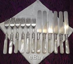 Meriden Cutlery Mother of Pearl Handled 12 Pc Fork & Knife Set Ornate Bands