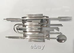 Mid-Century Modern PM Italy Fine Italian Silver Plate Bar Tool Cocktail Set