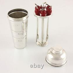 Miniature Cocktail Shaker, Cherry Picks & Measure Set. Small Silver Plate Sticks