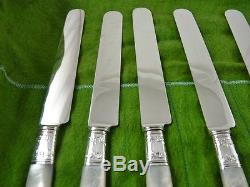 Mother Of Pearl Set Of 12 Luncheon Knives Sterling Collars By Landers Frary & C