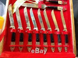 OLD Thailand SIAM BRONZE FORGED SILVERWARE FLATWARE SET 30 pc Jhangimal withpapers