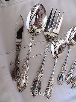 ONEIDA USA Silverplate 64PC SILVER MAGNOLIA 12-5pc Place Setting Complete