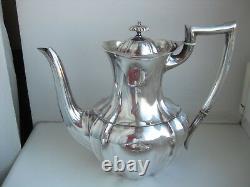Old Antique Silverplate 4 Piece Coffee & Tea Tray Service Set