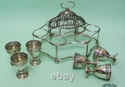 Old Sheffield Plate Breakfast Egg Cups Cruet Set On Stand England Circa 1790