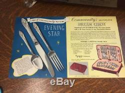 Oneida Community Silverplate Service 62 Pc EVENING STAR Flatware Silverware Case
