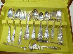 Oneida Community White Orchid Silverplate Flatware 76 Piece Set Service for 10